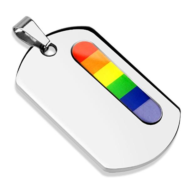 Regenbogen Farben Anhänger Silber 316L Stahl