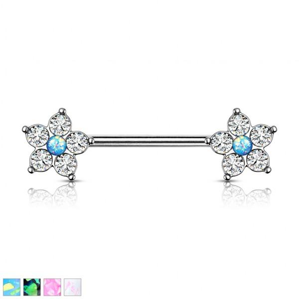 5 kristall Blume mit Opal Glitzer mittig Nippelpierincg Hantel