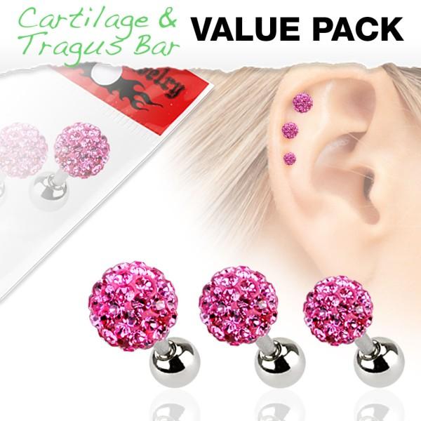 3er Pack Ferido Kugel Cartilage Tragus Piercing pink