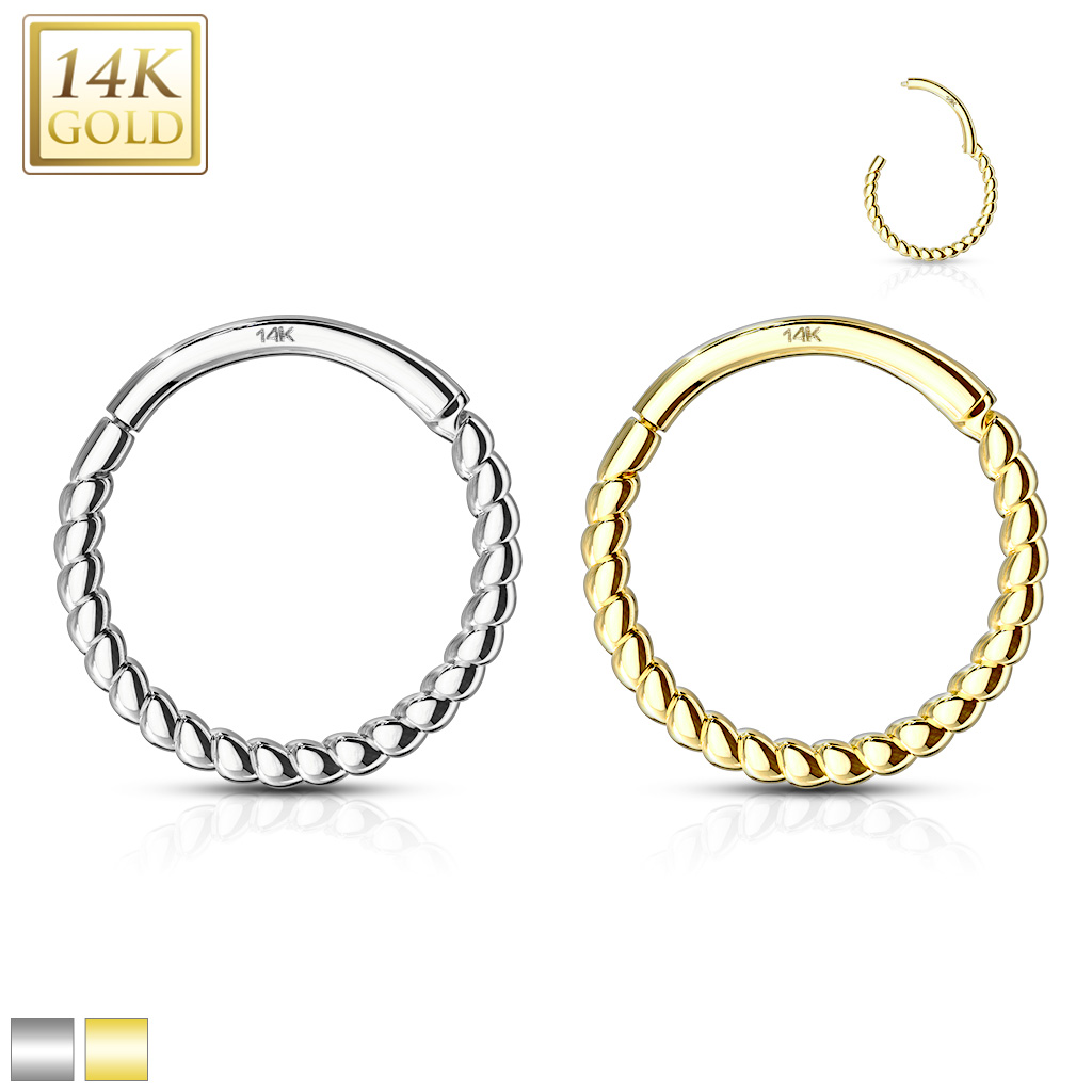 Segmentring 585 Gold 14 Karat Septum Clicker mit Scharnier Helix Tragus Lippen Daith Piercing
