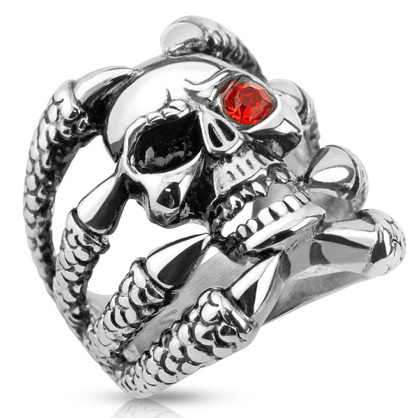 Ring Totenkopf Klaue roter Kristall Edelstahl