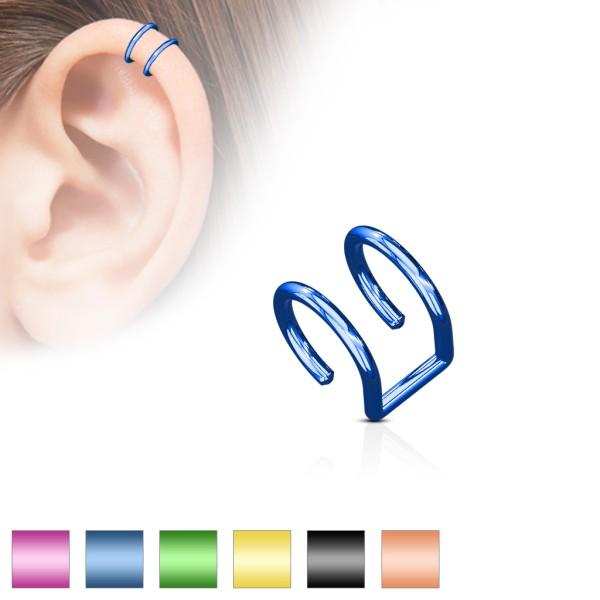 Zweier Fake Ohr Tragus Piercing farbig oder schwarz