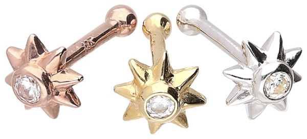 18 Karat Gold Nasenstecker Pin SONNE + KRISTALL