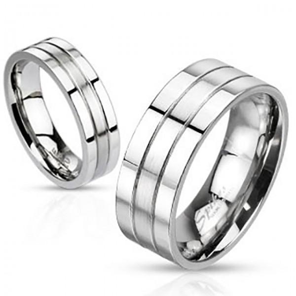 Ring Silber gebürstet zweitönig Edelstahl