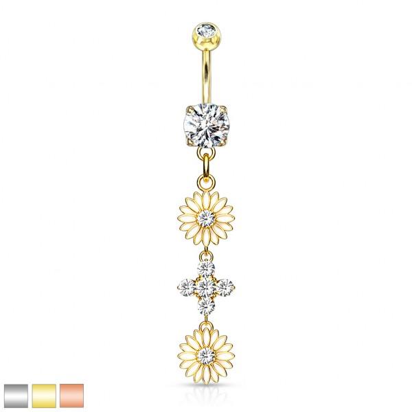 Emailleschliff Blume mit Kristall in der Mitte und hängender Blume aus 4 Kristallen Bauchnabelpierci
