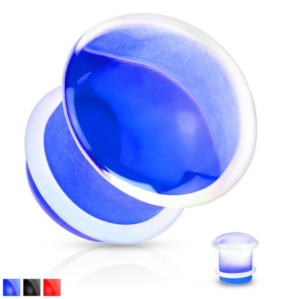 Glas Plug mit Silikon Ring Konkave Vorderseite single flared