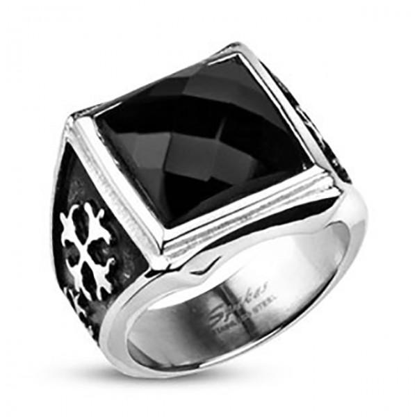 Ring Onyx Stein schwarz quadratisch Ring 316L Chirurgenstahl rostfrei