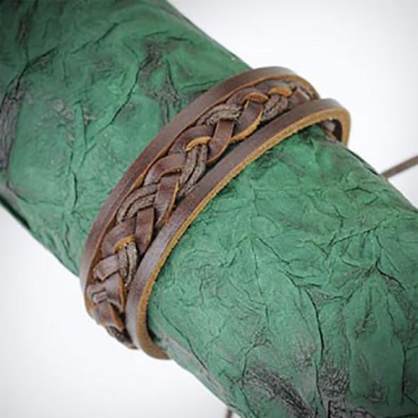 Lederarmband Braun geflochten Knoten Verschluss