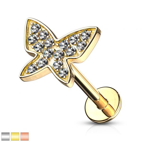 Mikrokristalle Schmetterling Innengewinde Labret Monroe Ohrpiercing Cartilage
