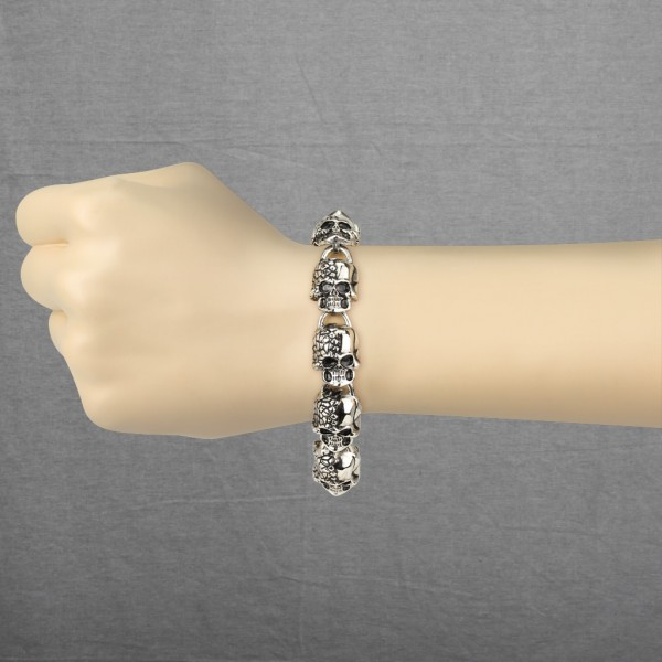 zwei Faced Schädel Armband Ring 316L Chirurgenstahl