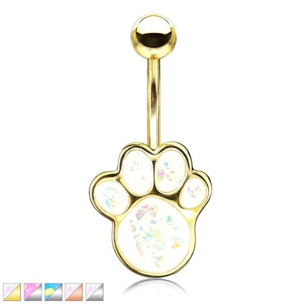 glitzernder Opalstein in Form einer Hundepfote Bauchnabelpiercing
