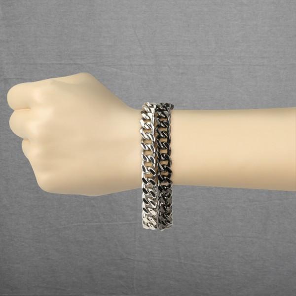 doppel Schwarz plattiert Ring 316L Chirurgenstahl Armband