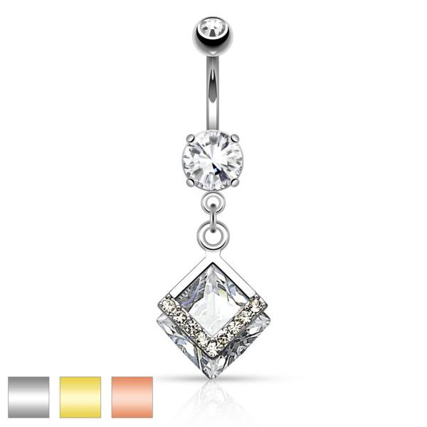 Diamantförmiges Bauchnabelpiercing