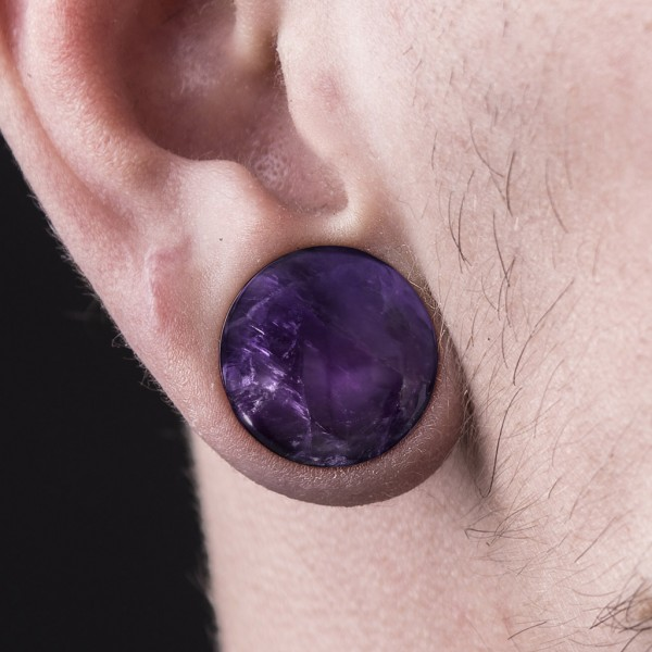 Amethyst Halbedler Stein Single Flare Plug mit Ring