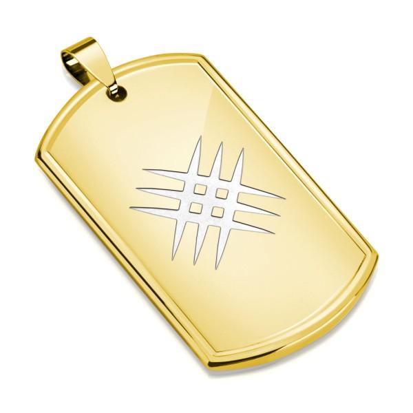 Laser Kreuz Hundemarke Gold Anhänger Kette Stahl