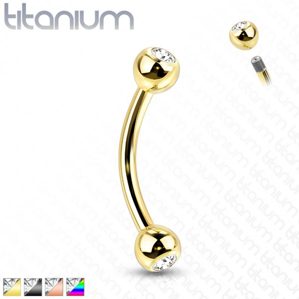 Titan G23 Banane mit Kugel Zirkonia Curved Barbell