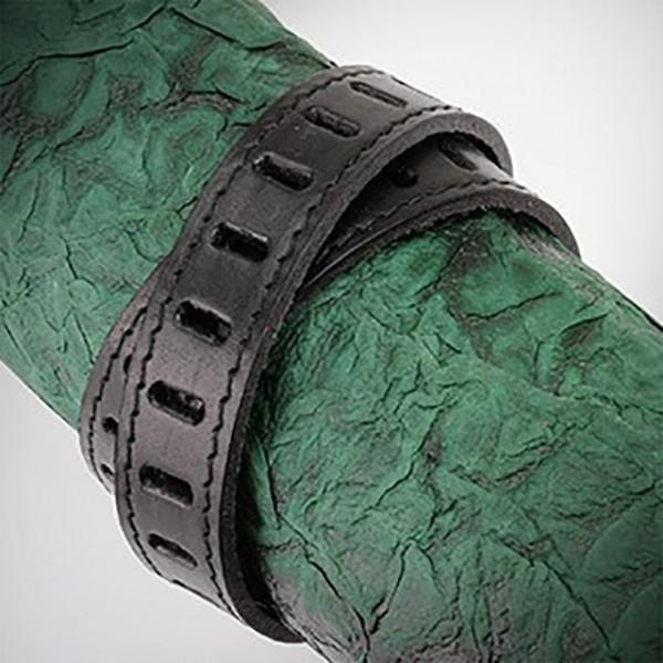 schwarzes Leder Doppel Verpackung mit Slit Dicut gemustert Armband