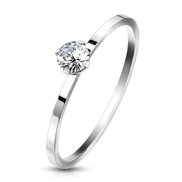 Ring Silber Kristall Edelstahl Verlobungsring