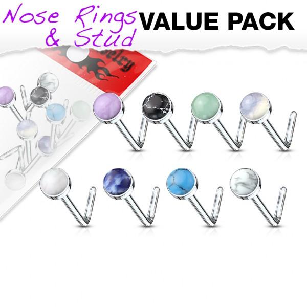 5 Stück Nasenpiercing Nasenstecker Halbedelsteine Stab L Form