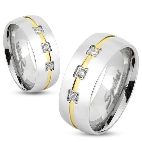 Ring 3 Edelsteine gold silber Edelstahl