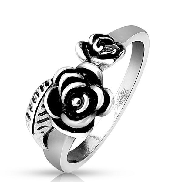 Ring 2 Rosen Blatt Edelstahl