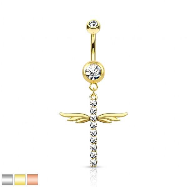 Kristall verzierter Kreuz mit Flügeln hängend Bauchnabelpiercing