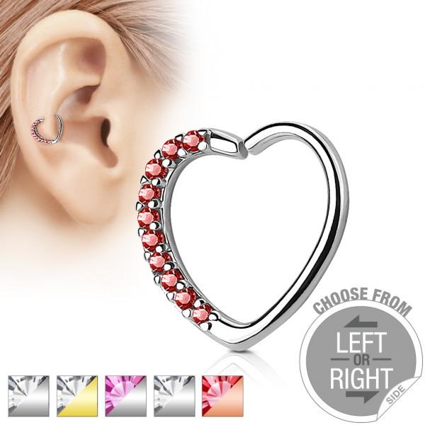 Zirkonia Herzförmiger Ring Helix Tragus Hoop