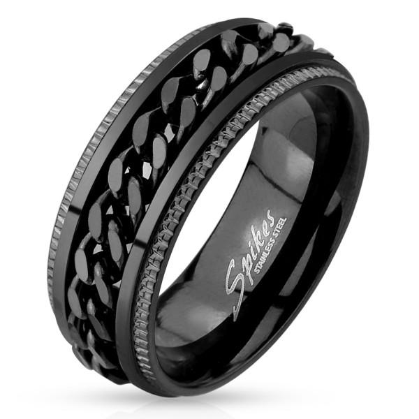 Ring schwarz Kette Edelstahl