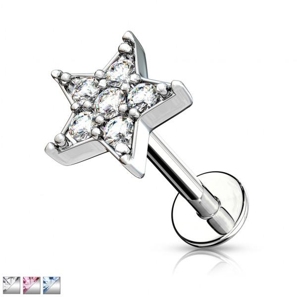 Stern aus Kristall Innengewinde für Labret Monroe Ohrpiercing
