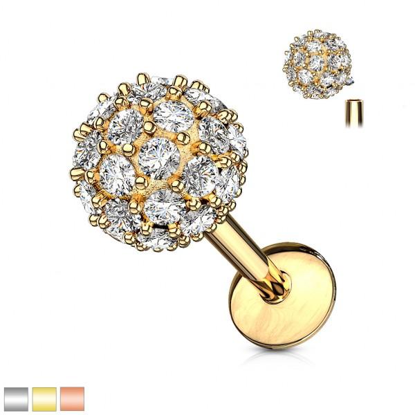 Kristall verzierte Kugel in 6mm Innengewinde Labret Monroe Ohrpiercing Cartilage