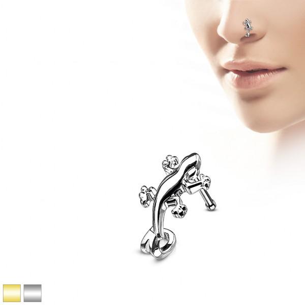 Gekon Eidechse Nasenpiercing Nasenstecker Nasenring Stahl 316L