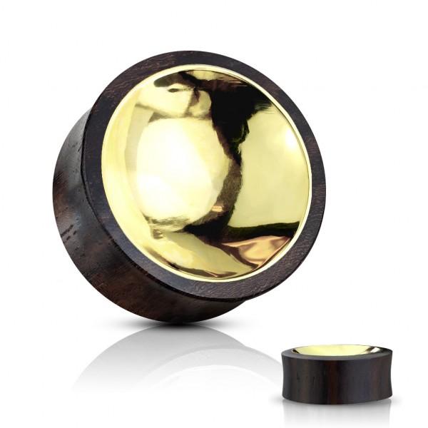 Organisches Sono Holz Saddle Plug mit konkavem Gold