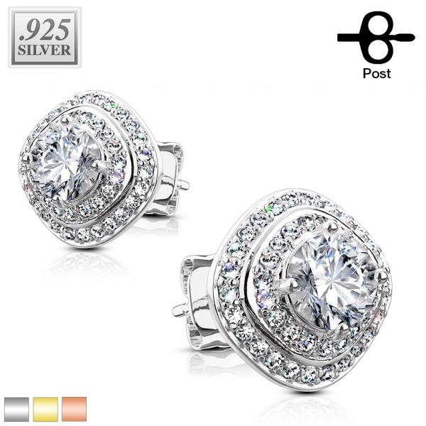 1 Paar Ohrringe Zirkonia Stecker Silber 925.