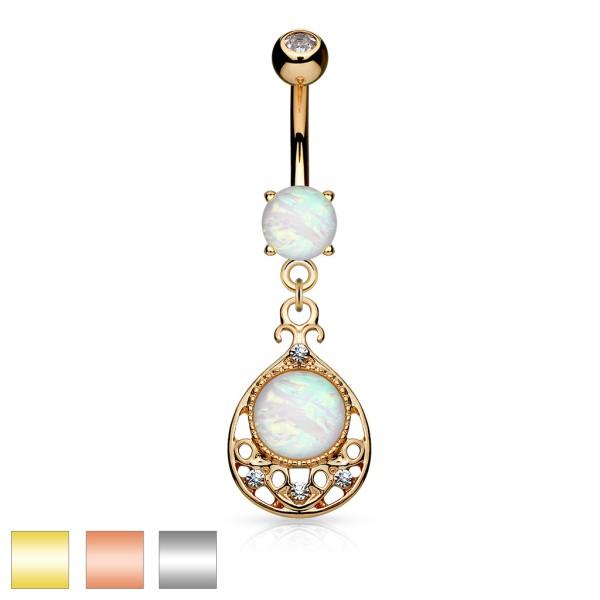 Traumfänger Opal Gold Bauchnabelpiercing