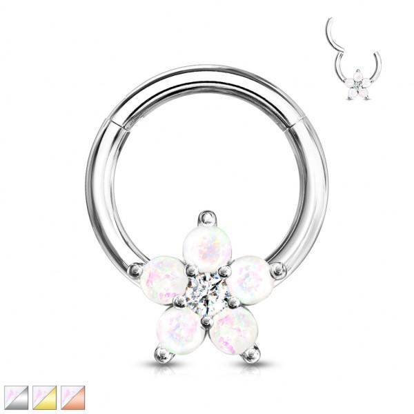 Opal Segment Clicker 316L Hoop Ring Ohrpiercing Daith Nasenpiercing Septum