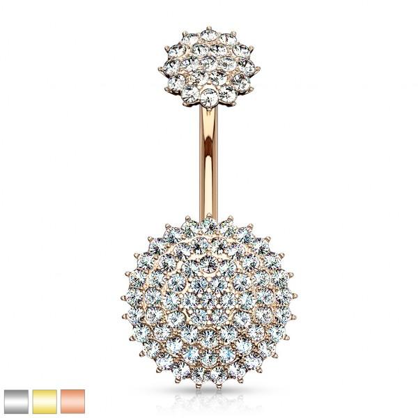 Innengewinde Kristall rundes Schild Bauchnabelpiercing