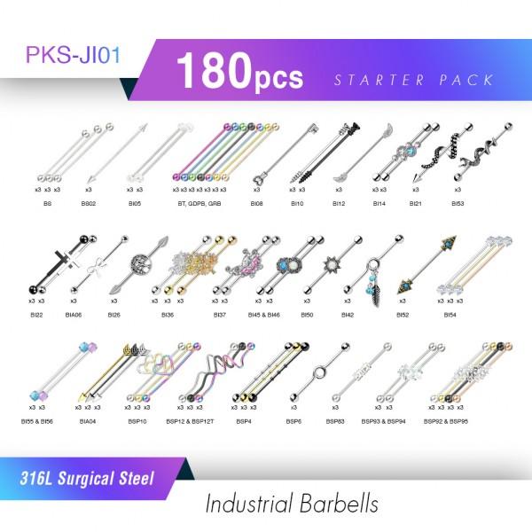 Starter Pack Piercingstudio 180 Stück Industiral Hantel Barrbell