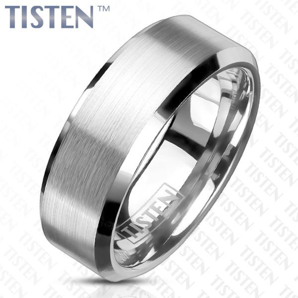 Ring Tisten Silber gebürstet schimmernd abgeschrägte Kanten