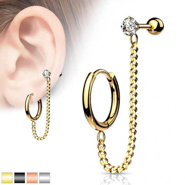 Clicker Hoop Ohrring Kette Barbell Studs Ohrpiercing Barbell Forward Helix Conch Surface Tragus