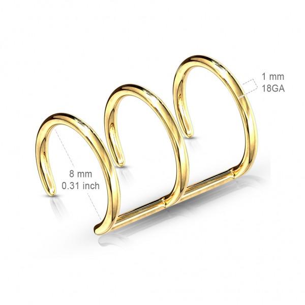 Dreier Fake Ohr Helix Fake Piercing Ohrring Gold Clip-On
