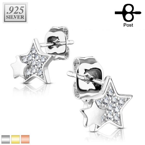 1 Paar Ohrringe Sterne Zirkonia Stecker Silber 925.