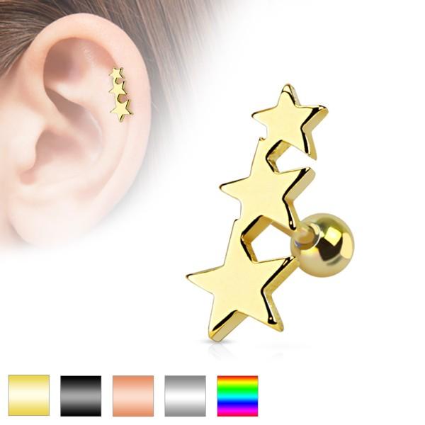Drei Sterne Cartilage Tragus Piercing