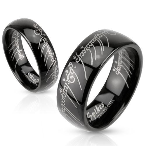 Ring Edelstahl schwarz Vaterunser lasergraviert