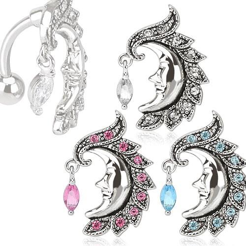 Mondsichel Mond Gesicht Bauchnabelpiercing