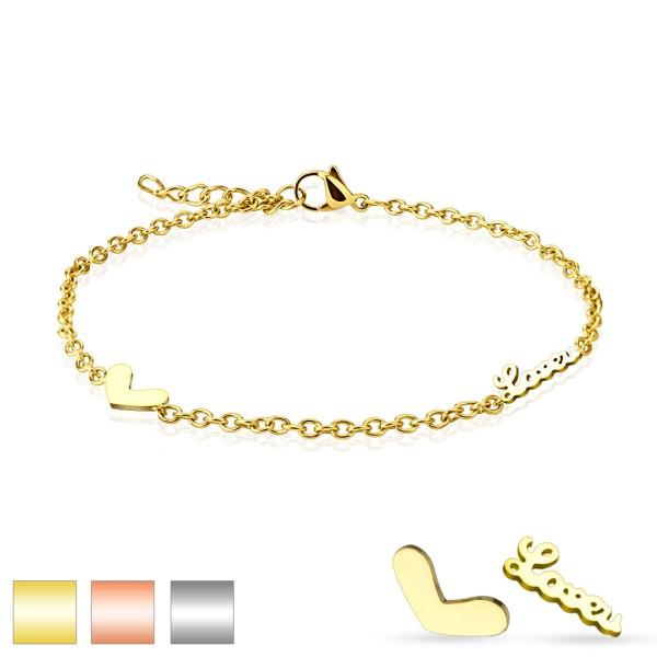 Herz Love Gold 316L Armband Fußkette