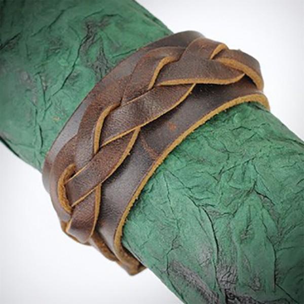 Dicke geflochtene Bänder Lederarmband Armband Braun