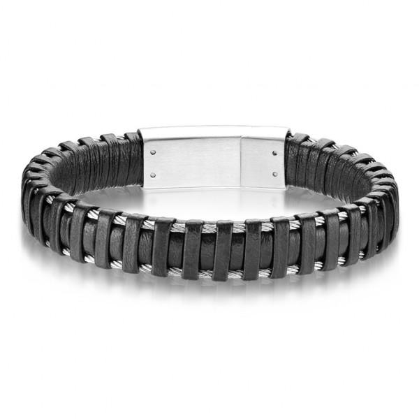 Beste Qualität, schwarzes Mikrofaser Leder und rostfreier Stahl, Armband für Männer