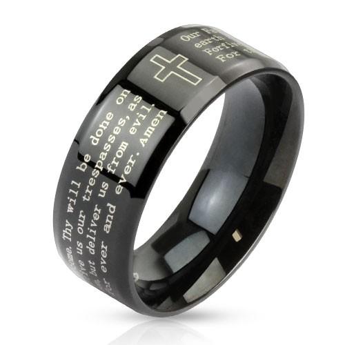 Ring schwarz Kreuz Vaterunser Edelstahl
