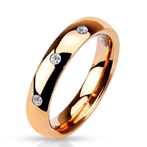 Ring 3 Zirkonia rosegold 316L Chirurgenstahl