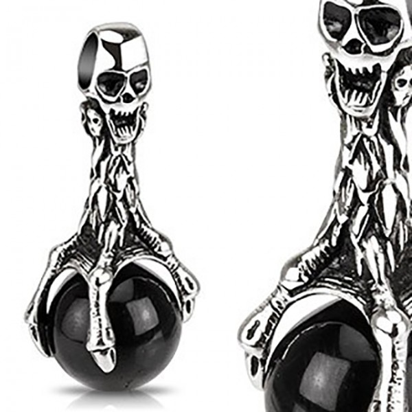 Totenkopf Schwarze Kugel Anhänger Silber Schwarz Stahl